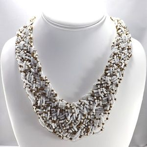 Seed Bead Braided Necklace White & Dark Gold NWT
